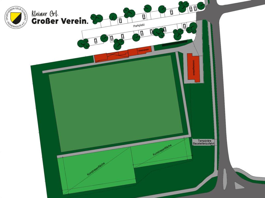 Grobe Skizze der zukünftigen Sportanlage von Gelb-Schwarz Hohenholte.